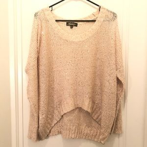 Cream and gold sequin sparkle high low sweater